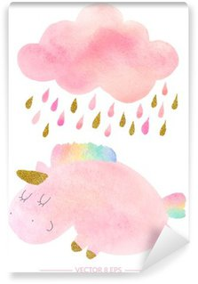 Watercolor unicorn and cloud with rain