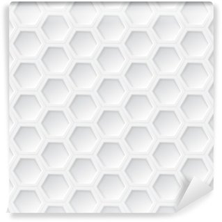 Washable Wall Mural White 3d hexagon seamless pattern