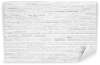 White grunge brick wall texture background Washable Wall Mural