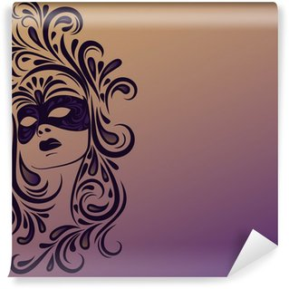 Washable Wall Mural woman's face with carnival mask