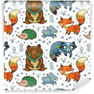 Washable Wall Mural Woodland annimals seamless pattern