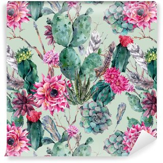 Cactus watercolor seamless pattern in boho style. Washable Wallpaper