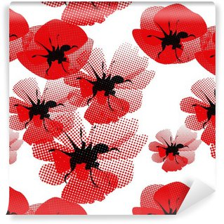 floral seamless pattern with poppy Washable Wallpaper