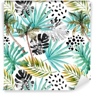 Hand drawn abstract tropical summer background Washable Wallpaper