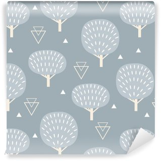 Seamless pattern in modern Scandinavian style. Vector geometry background of north nature. Washable Wallpaper