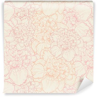 Seamless pattern of peonies Washable Wallpaper