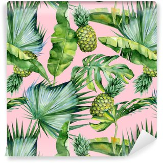 Seamless watercolor illustration of tropical leaves and pineapple, dense jungle. Pattern with tropic summertime motif may be used as background texture, wrapping paper, textile,wallpaper design. Washable Wallpaper