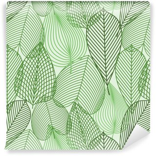 Spring green leaves seamless pattern Washable Wallpaper