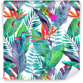 Tropical leaves seamless pattern. Floral design background. Washable Wallpaper