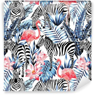 watercolor flamingo, zebra and palm leaves tropical pattern Washable Wallpaper