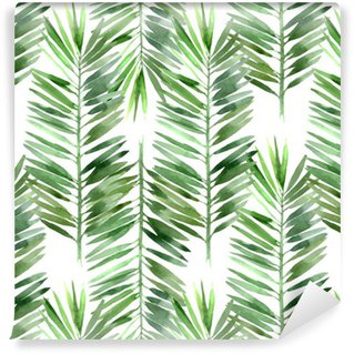 watercolor palm tree leaf seamless Washable Wallpaper