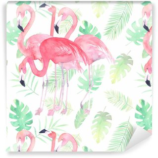 Watercolor seamless pattern with flamingo and tropic leaves Washable Wallpaper