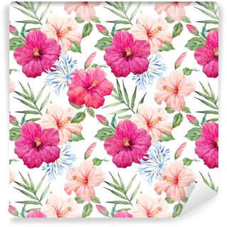 Watercolor tropical hibiscus pattern Washable Wallpaper