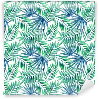 Watercolor tropical leaves seamless pattern Washable Wallpaper