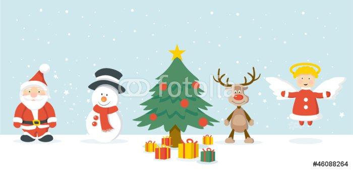 Weihnachtsmann, Schneemann, Weihnachtsbaum, Geschenke