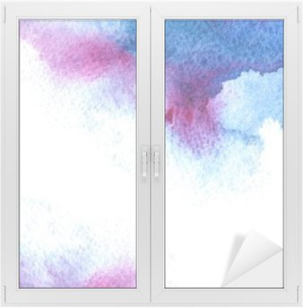 Abstract blue and violet watery frame.Aquatic backdrop.Hand drawn watercolor stain.Cerulean splash. Window & Glass Sticker