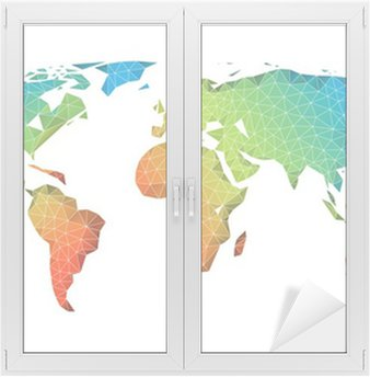 Abstract low poly world map vector wall mural pixers we live abstract low poly world map vector window glass sticker gumiabroncs Images