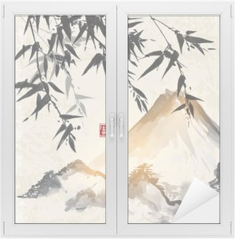 Bamboo and mountains. Traditional Japanese ink painting sumi-e. Contains hieroglyph - double luck. Window & Glass Sticker