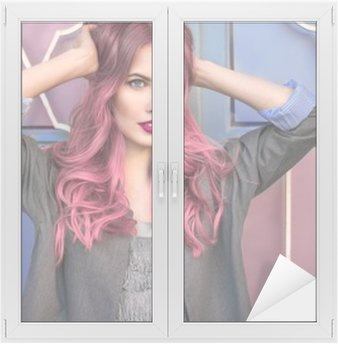 Window & Glass Sticker Beautiful hipster fashion model with curly pink hair posing in front of the colorful wall