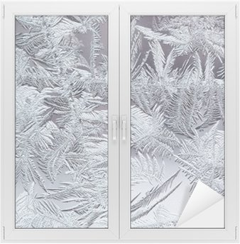 beautiful winter frosty pattern made of brittle transparent crystals on the glass Window & Glass Sticker