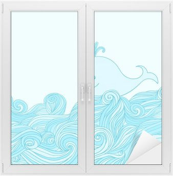 Blue cute whale in the sea waves. Window & Glass Sticker