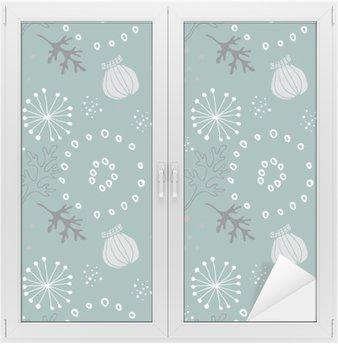 Blue floral pattern. Window & Glass Sticker