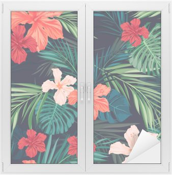 Window & Glass Sticker Bright colorful tropical seamless background with leaves and
