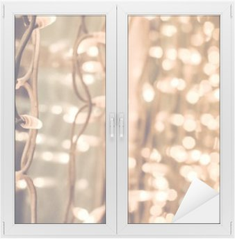 Window & Glass Sticker bright gorgeous beautiful christmas lights on the window in the