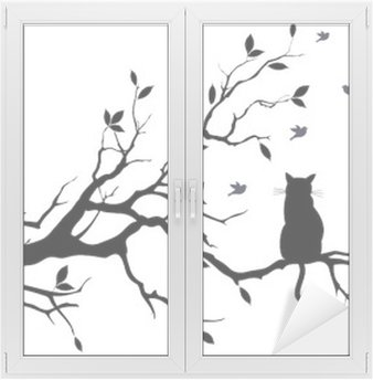 cat on a tree with birds, vector Window & Glass Sticker
