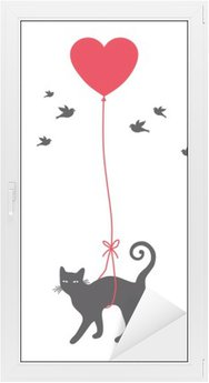 cat with heart balloon, vector Window & Glass Sticker