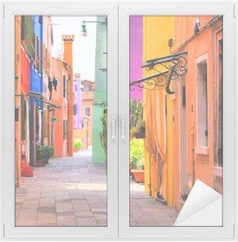 Window & Glass Sticker Colorful street in Burano, near Venice, Italy
