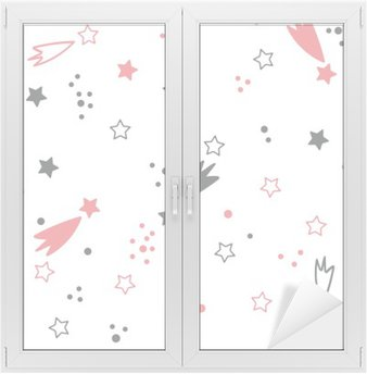 Window & Glass Sticker Cute seamless pattern with stars. Space background