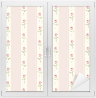 Window & Glass Sticker Cute seamless Shabby Chic pattern with roses and polka dots ideal for kitchen textile or bed linen fabric, curtains or interior wallpaper design, can be used for scrap booking paper etc