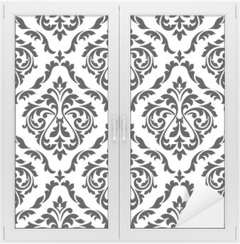 Window & Glass Sticker Damask black and white floral seamless pattern