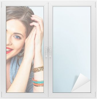 Face portrait of smiling woman. Teeth smiling girl. One model Window & Glass Sticker