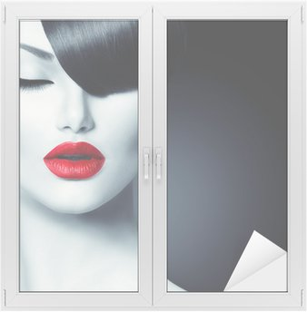 Window & Glass Sticker Fashion Glamour Beauty Girl With Trendy Fringe Hairstyle