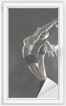 Fitness female woman with muscular body jumping . Window & Glass Sticker