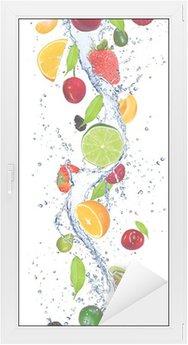 Window & Glass Sticker Fresh fruits falling in water splash