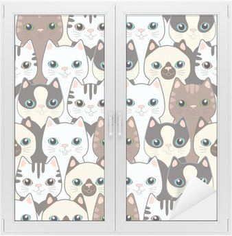 Funny cartoon cats. Seamless pattern Window & Glass Sticker