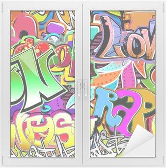 Window & Glass Sticker Graffiti wall. Urban art vector background. Seamless pattern