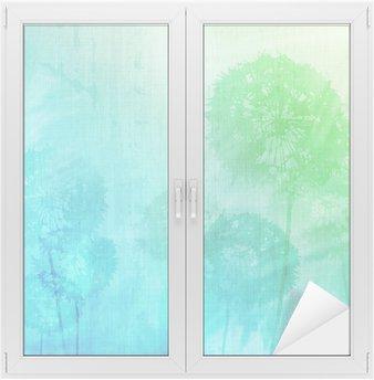 grunge background with dandelions Window & Glass Sticker
