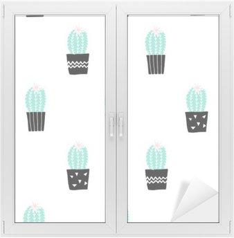 Hand Drawn Cactus Pattern Window & Glass Sticker