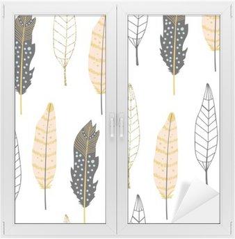 Hand Drawn Feathers Seamless Pattern Window & Glass Sticker
