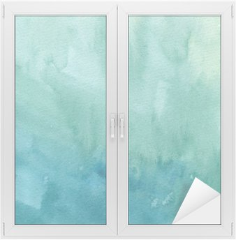 Hand drawn turquoise blue, green watercolor abstract paint texture. Raster gradient splash background. Window & Glass Sticker