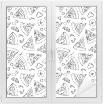 Hand drawn vector seamless pattern - pizza. Types of pizza: Pepperoni, Margherita, Hawaiian, Mushroom. Sketch style