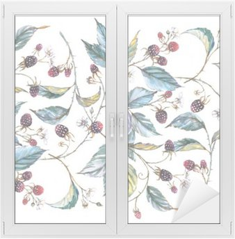 Hand-drawn watercolor seamless ornament with natural motives: blackberry branches, leaves and berries. Repeated decorative illustration, border with berries and leaves Window & Glass Sticker