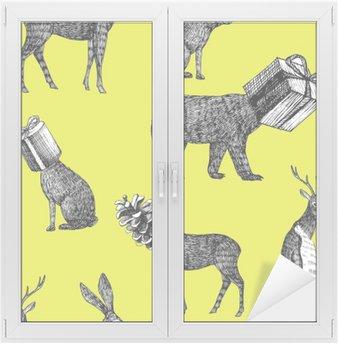 hand drawn winter animals seamless background Window & Glass Sticker