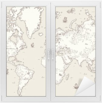 Window & Glass Sticker High detailed, Old world map with decorative elements