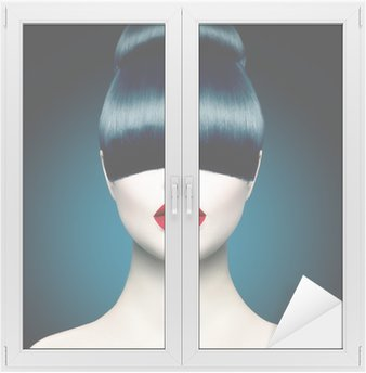 High Fashion Model Girl Portrait with Trendy Fringe Window & Glass Sticker