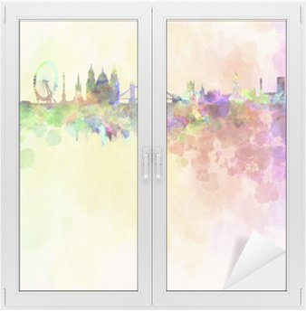 Window & Glass Sticker London skyline in watercolor background